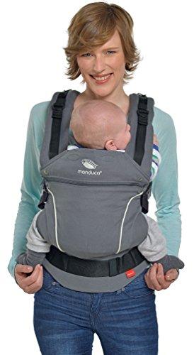manduca First Babytrage  PureCotton Dark Grey  Ergonomische Babytrage I Bio-Baumwolle I Neues Stoff-Finishing (Soft & Fusselfrei) Bauch- Hüft- und Rückentrage für Kinder von 3,5-20kg, grau