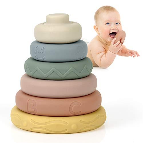 Mini Tudou 6 Stück Stapelspielzeug mit Ringen,Stapelturm& Beißringe für Stapelspiel,Squeeze-Spielzeug mit Früherziehung,Bestes Geschenk spielzeug Jungen und Mädchen ab 6 monate