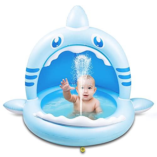 Weokeey Baby Pool mit Dach, Hai Baby Planschbecken als Sonnenschutz Baby Schwimmbecken mit Wasserspray Babypool für Balkon, Garten, Terrasse, 160x115x110 cm