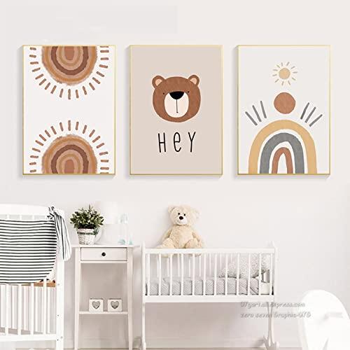 SWECOMZE 3er Kinder Poster Set - Regenbogen Wolken Wandeposter   Bilder für das Babyzimmer oder Kinderzimmer Deko Mädchen Jungen (Style A,30 x 40 cm)