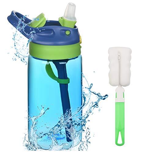 flintronic Trinkflasche Kinder Strohhalm, 480 ml Strohhalmbecher für Kinder, BPA-frei Auslaufsicher, Kinderflasche mit Strohhalm für Schule, Kindergarten, Fahrrad - Blau