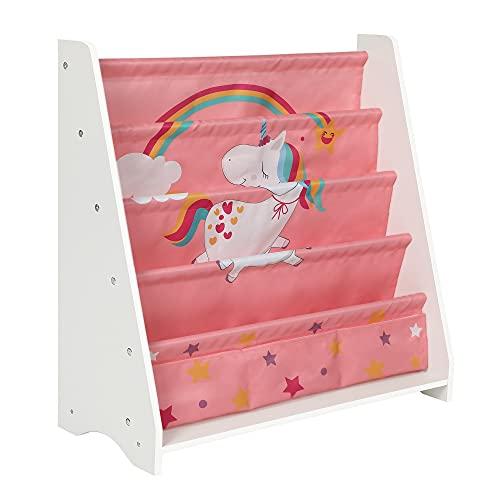 SONGMICS Bücherregal für Kinder, Kinderzimmerregal, mit 5 Ebenen, Spielzeug-Organizer, mit Kippschutz, für Kinderzimmer, Spielzimmer, Schule, Kindergarten, 62,8 x 28 x 72 cm, weiß-pink GKR071P01