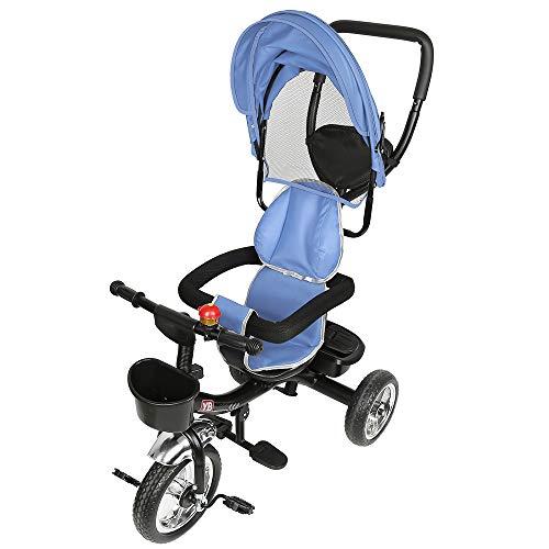 JEOBEST 4 in 1 Dreirad für Kinder, Dreirad mit Schiebegriff, Fahrrad mit Klingel, Blau