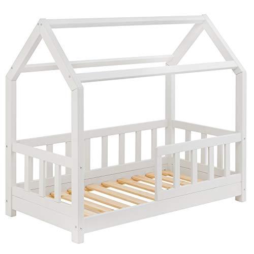 Riverbank Kinderbett 70x140 mit Rausfallschutz - Kinder Hausbett aus Kiefer Holz mit Rollrost   Stabiles Haus Bett für Mädchen & Jungen   70 x 140 cm Jugendbett Massivholz Weiß