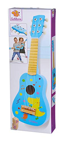 Eichhorn – Gitarre für Kinder – blaue Kindergitarre, stimmbare Saiten, Holzspielzeug, mit Dino, Holzgitarre für Jungen und Mädchen ab 3 Jahren