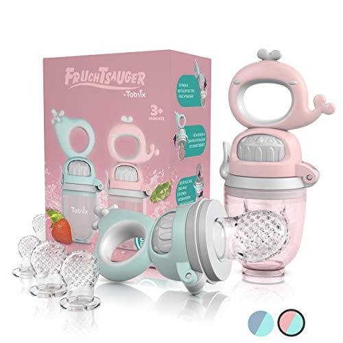 TABRIX® Fruchtsauger Baby ab 3 Monate & Kleinkind (2x) - Zahnungshilfe mit Druckfunktion - BPA-Frei - Alternative für Schnuller/Beißring - Obstsauger - attraktives Design & integrierter Messbecher