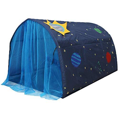 Kinderzelt für Mädchen Jungen Powcan Spielzelt für Kinder Galaxie Sternenhimmel Spielhaus Zelt Kinder Pop up Zelt mit doppeltem Netzvorhang und Tragetasche für Indoor Outdoor Spiele 140x100x80cm