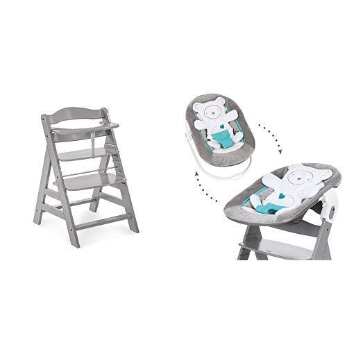 Hauck Newborn Set (2 Teilig): Alpha Hochstuhl ab 6 Monaten, mitwachsend, höhenverstellbar, bis 90 kg belastbar, grau + Babwippe(Motiv: Teddy) in grau