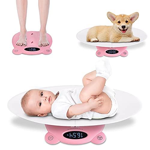 Babywaage 2 in 1 Multifunktionale Baby Erwachsene Waage Digitale Babywaage für Kleinkinder unter 20 kg mit LCD-Display und Tara-Funktion