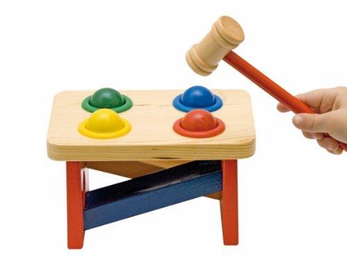 alles-meine.de GmbH Klopfbank aus Holz - Holzklopfbank - Spielzeug Hammer mit Kugeln / Kinderklopfbank