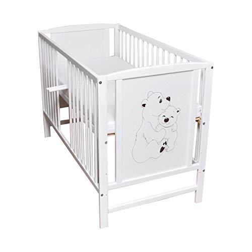 Babybett Gitterbett Kinderbett Sprossen 120x60 Weiß Bär Bärchen Motiv mit Matratze NEU