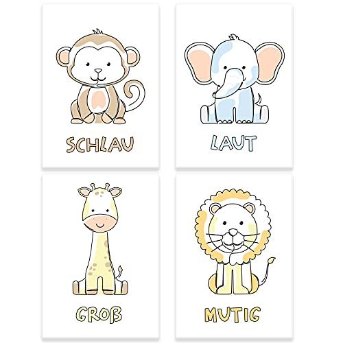 ChicResult 4er Set Line Art Wandbilder Safari Tiere - Bilder Kinderzimmer Mädchen oder Junge, Babyzimmer Deko, Wanddeko Kinderzimmer, Tierbilder (DIN A4 ohne Bilderrahmen)