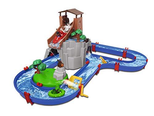 BIG Spielwarenfabrik 8700001647 AquaPlay - AdventureLand - Wasserbahn mit Berg, Turm und Stausee, Spieleset inkl. 2 Tierfiguren, Motorboot und Speedboot, für Kinder ab 3 Jahren