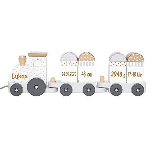 Elefantasie Nachzieh Spielzeug Zug aus Holz mit Namen und Geburtsdaten graviert Silber
