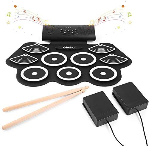 Elektronisches Schlagzeug Drum Set, Ohuhu 9 Pads Tragbare Roll Up Midi Tabletop Drum Schlagzeug Set mit Eingebautem Lautsprecher Drum Fußpedal Drumsticks für Kinder & Anfänger