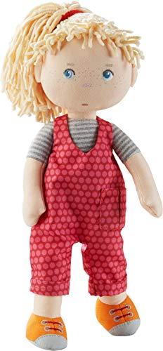 HABA 305408 Puppe Cassie, Stoffpuppe aus weichen, waschbaren Materialien mit Latzhose und Zopfgummi, 30 cm, Puppe für Kinder ab 18 Monaten