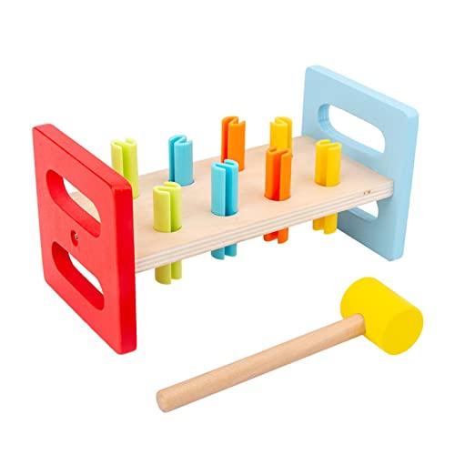 Klopfbank, Hammerbank, enthält 1x Hammer, 8x Klopfstifte, Formsortierer Spielzeug für Kleinkinder, Kinder - Buntes Pfund & Spiel, 20 10 10 cm - 1 Jahre alt +