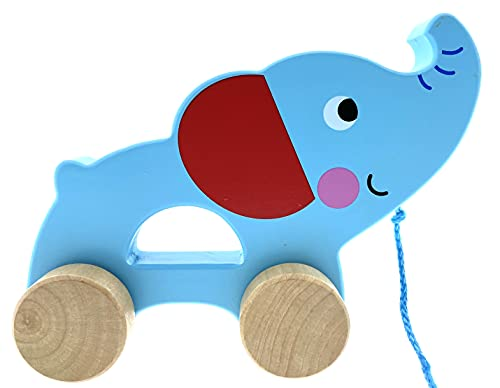 RB&G Nachziehspielzeug ab 1 Jahr   Süßes Nachziehtier aus Holz   Baby Spielzeug Holz Elefant zum Nachziehen   Ziehtiere Holz ab 1 Jahr   Holzspielzeug Nachzieh-Elefant