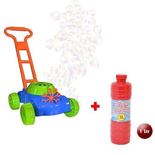 DRULINE Seifenblasen Rasenmäher Gartenspielzeug Für Kinder Mit 👍 GRATIS 👍 1 ltr Bubble Machine Seifenlösung Enthalten | Geschenkidee Für Kinder Ab 4 Jahren | Gartengeräte Und Zubehör | Spielzeug