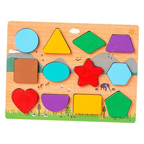 freneci Pädagogisches Holz Passende Puzzle Set Entwicklung Erkennung Vorschule Frühes Lernendes Buntes Spielzeug für Spiele Weihnachtsgeschäft Alter 3 5 Klein - Form