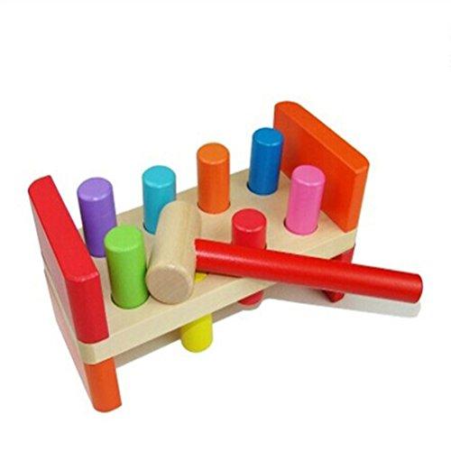 TOYMYTOY Holz Klopfbank mit Hammer Klopfstifte Holzspielzeug für Kinder