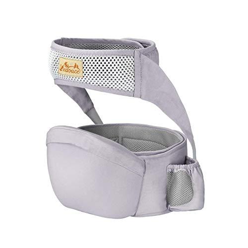 Viedouce Baby Hüftsitz Ergonomische mit Sicherheitsgurt Schutz,Reine Baumwolle Leicht und atmungsaktiv,Ergonomischer Leichte Taille Hocker Baby Hüftsitz für 3-36 Monate (Grau)