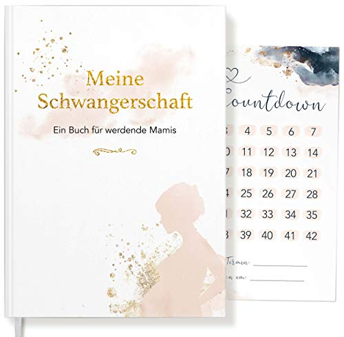 Meine Schwangerschaft ein Buch Golden Glamour Splash für werdende Mamis | Schwangerschaftstagebuch für Erinnerungen | Geschenk für Schwangere + Baby-Countdownkarte