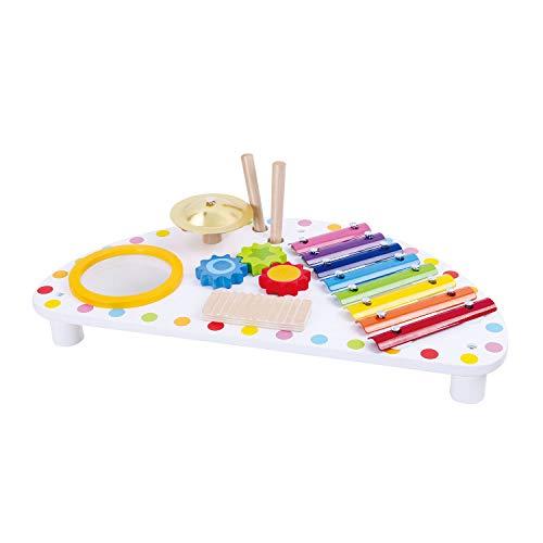 Tooky Toy Musiktisch Holz für Kinder - Xylophon Musikstation - Musikinstrumente Set - Klangspiel Musikcenter Spieltisch ab 3 Jahren
