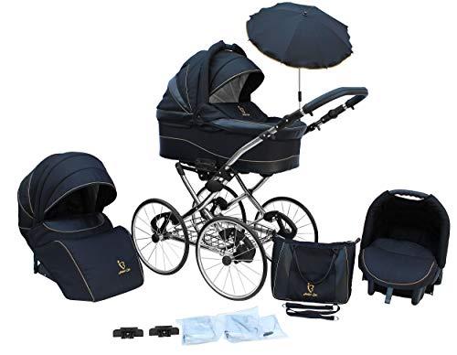 Lux4kids Retro Kinderwagen 17' Reifen Speichenräder Pannenfrei mit Sonnenschirm Classico Night 05 2in1 ohne Babyschale