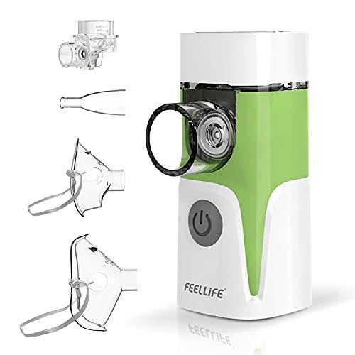 FEELLIFE Inhalator Vernebler, Inhalationsgerät für Atemwegserkrankungen wirksam, Inhaliergerät für Kinder und Erwachsene, mit Musik Funktion und 2 Medizinbecher