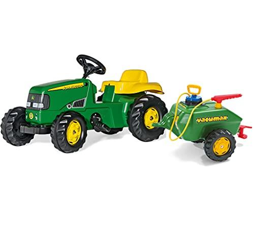 Rolly Toys 14996 rollyKid John Deere Trettraktor Vacumax Anhänger (Tretfahrzeug, Volumen Fassanhänger 15 Liter, belastbar bis 50 kg, für Kinder ab 2,5 Jahre, inkl. Pumpe + Spritze), grün