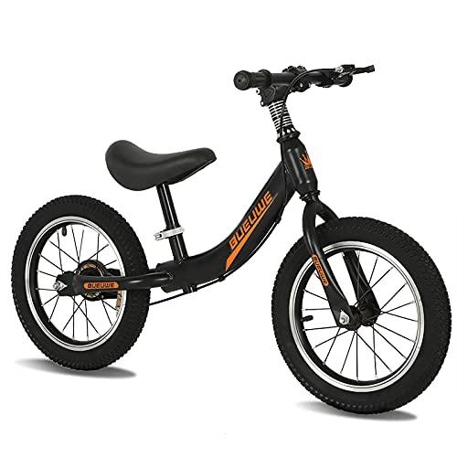Bueuwe Laufrad Kinder Laufrad Mit 14 Zoll Luftbereifung Lauflernrad Inkl. Höhenverstellbarem Sattel Kinderlaufrad Ab 3-7Jahre,Schwarz