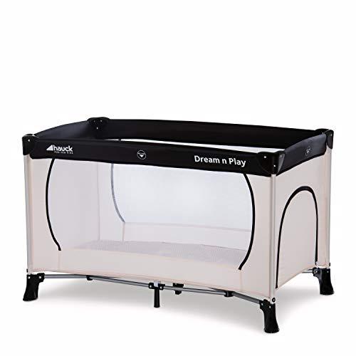 Hauck Dream'n Play Plus, Reisebett 3-teilig 120 x 60 cm, ab Geburt bis 15 kg, inkl. Tragetasche und Schlupf (faltbar, tragbar, leicht & kippsicher), beige