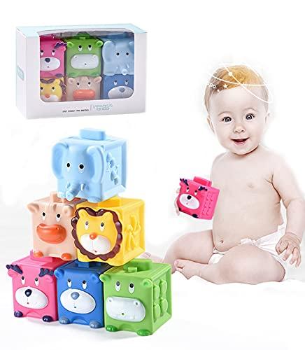 Herefun Baby Bausteine Spielzeug, Baby Blöcke Stapelbecher, Montessori Babyspielzeug, Badewannenspielzeug Weich Stapelwürfel mit Zahlen und Tieren für ad 6 9 12 Monat Kleinkind (6PCS)