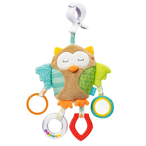 Fehn 071160 Activity-Spieltier Eule – Motorikspielzeug zum Aufhängen – Für Babys und Kleinkinder ab 0+ Monaten – Maße: 25 cm