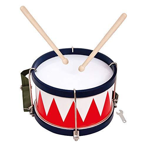Bino world of toys 86583 Bino Trommel, Spielzeug für Kinder ab 3 Jahre, Kinderspielzeug (Musikinstrument für Kinder inklusive Tragegurt, 2 Trommelschlegel & Stimmschlüssel, optimal an Kinderhände angepasst), Mehrfarbig