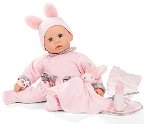 Götz 2161152 Cookie Care Pastellino Puppe mit Funktion - 48 cm große Babypuppe mit blauen Schlafaugen, ohne Haare und einem Weichkörper - 8-teiliges Set