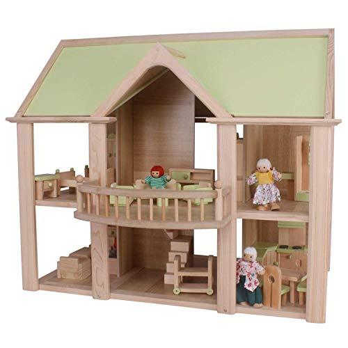 mamabrum, Puppenhaus für Kinder - Holz großes 2-stöckiges Puppenhaus - 2 Schlafzimmer, Balkon, 26-teilige Möbel, 4 Holzpuppen und Küche - CE-Zertifiziert