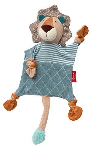 SIGIKID 42157 Schnuffeltuch Löwe Kuscheltuch Mädchen und Jungen Babyspielzeug empfohlen ab Geburt beige/blau