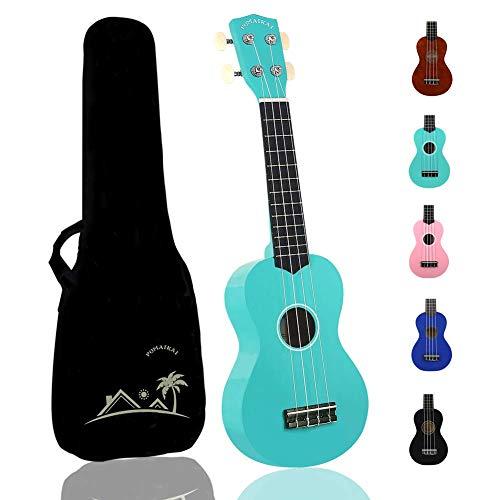 POMAIKAI Sopran Ukulele Uke 21 Zoll Hawaii Gitarre mit Tasche für Kinder und Anfänger (hellblau)