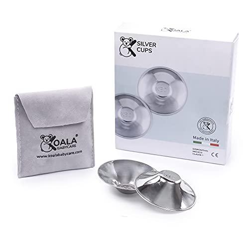 Koala Babycare Silberhütchen - Brustwarzenschutz für empfindliche und schmerzende Brustwarzen - Zertifiziertes Medizinprodukt - Aus Silber Trilaminat für maximale Resistenz - Stillhütchen 2 Stück