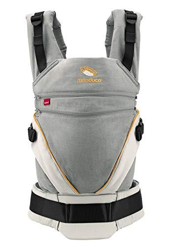 Babytrage manduca XT/All-In-One Babytrage für Neugeborene mit verstellbarem Steg, 3 Trage Positionen, flexibles Tragesystem, Bio-Baumwolle, für Babys & Kleinkinder ab 3,5 bis 20 kg (grey-orange)