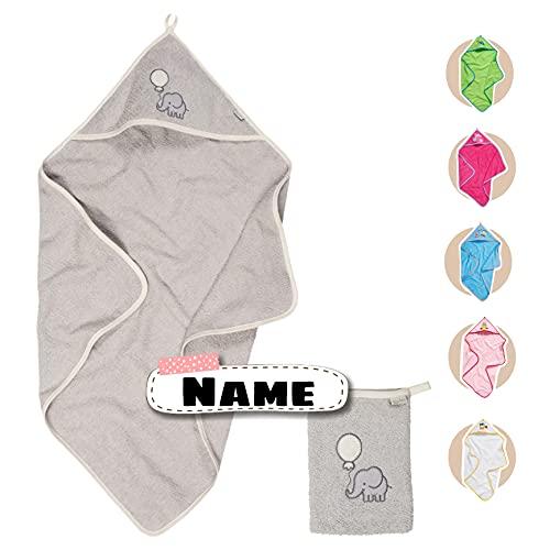 Baby Kapuzenhandtuch Set mit Waschlappen | Baby Handtuch Kapuzenbadetuch 75 x 75 cm | personalisiert mit Name | Baby Badetuch Bestickt mit Namen | Jungen Mädchen (Grau Elefant)