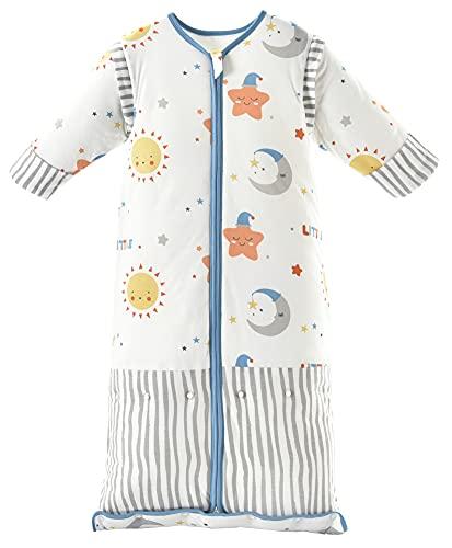Chilsuessy Winter 3.5 Tog Kinder Schlafsack mit abnehmbaren Ärmeln Bio Babyschlafsack für Jungen und Mädchen von 1 bis 10 Jahre alt, Blau Himmel, L (100-130 cm)