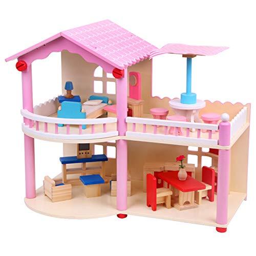 ZzheHou Puppenhaus Spielzeug Kindergeburtstagsgeschenke Haus Modell Große Holzpuppenhaus mit Möbeln 3D Puzzle für Kinder Dekoratives Puppenhaus (Farbe : Pink, Size : 40.5×24×35 cm)