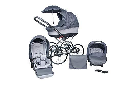 Lux4Kids Classico Retro Kinderwagen deluxe Sonnenschirm 27' Speichenreifen Pannefrei Rock 05 3in1 mit Babyschale