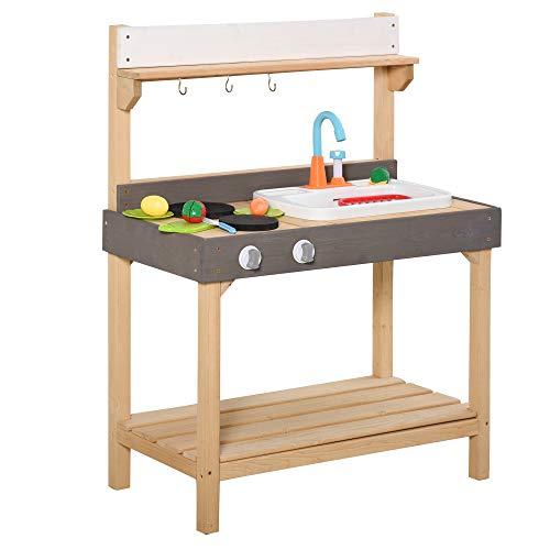 Outsunny Matschküche mit Wasserhahn Kinderküche mit Zubehör 14-Teilige Spielküche Spielzeugküche Holz Kunststoff Natur+Grau+Weiß 75 x 40 x 100 cm