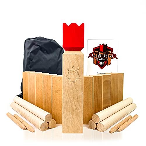 POZY Kubb Wikingerschach - Made in Germany aus echtem Buchenholz - aufregendes Gesellschaftsspiel für Erwachsene und Kinder - packendes Wikinger Schachspiel für draußen - das ideale Outdoor Spielzeug