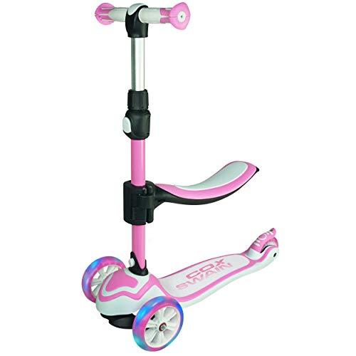 Cox Swain 2in1 Kinder Scooter TRIKY mit Leuchtrollen und Sitz, Color: Pink