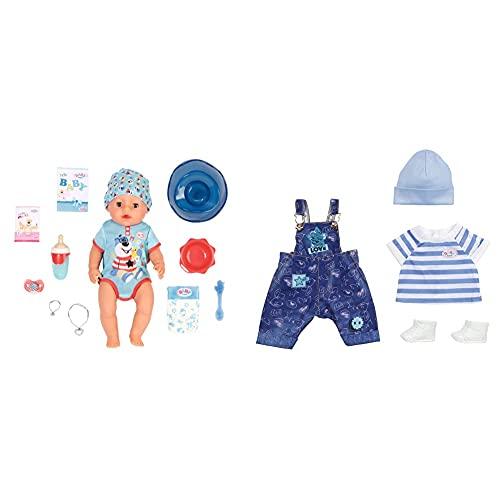 Zapf Creation 827963 BABY born Magic Boy 43 cm - neu mit magischem Schnuller und 10 lebensechten Funktionen & Deluxe Latzhose Spielset für 43cm Puppe - Leicht für Kleine Hände